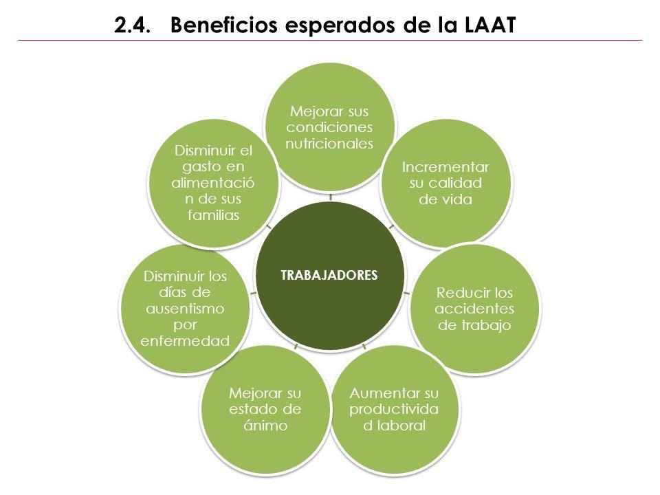 2.4. Beneficios esperados de la LAAT TRABAJADORES Mejorar sus condiciones nutricionales Incrementar su calidad de vida Reducir los accidentes de traba