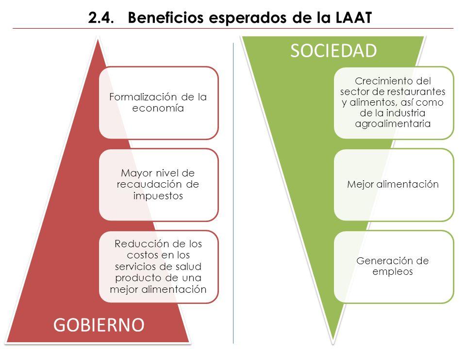 2.4. Beneficios esperados de la LAAT Formalización de la economía Mayor nivel de recaudación de impuestos Reducción de los costos en los servicios de