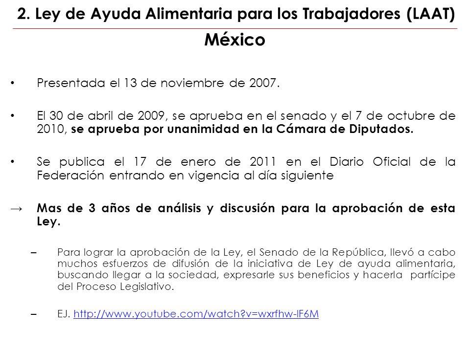 México Presentada el 13 de noviembre de 2007. El 30 de abril de 2009, se aprueba en el senado y el 7 de octubre de 2010, se aprueba por unanimidad en