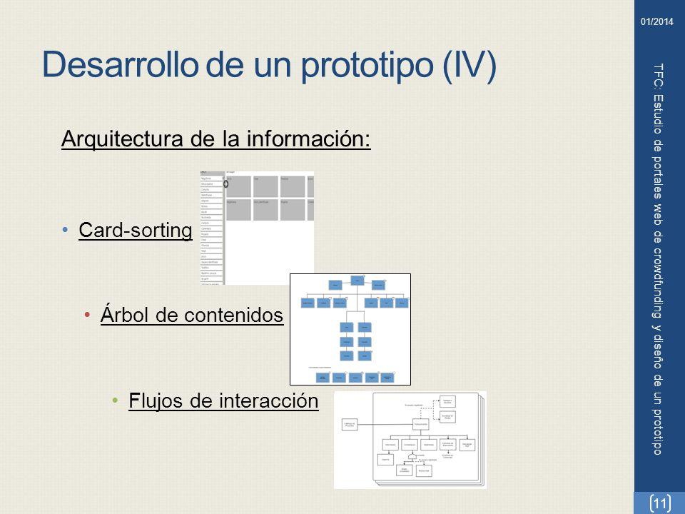 Desarrollo de un prototipo (IV) TFC: Estudio de portales web de crowdfunding y diseño de un prototipo 11 01/2014 Arquitectura de la información: Card-