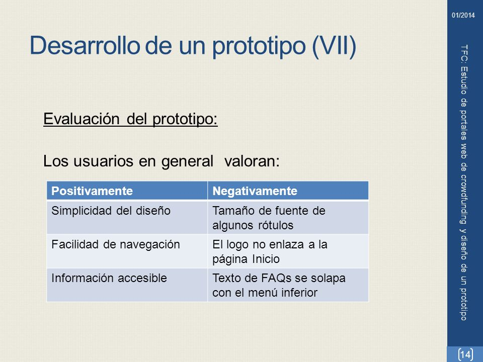 Desarrollo de un prototipo (VII) TFC: Estudio de portales web de crowdfunding y diseño de un prototipo 14 01/2014 Evaluación del prototipo: Los usuari
