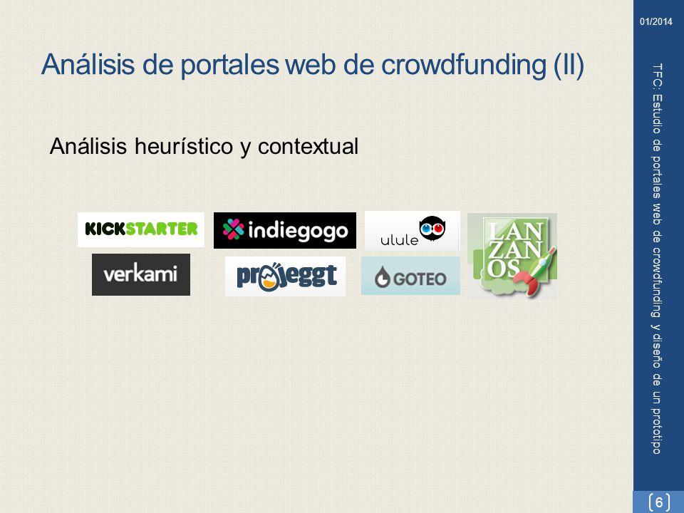 Análisis de portales web de crowdfunding (II) TFC: Estudio de portales web de crowdfunding y diseño de un prototipo Análisis heurístico y contextual 6