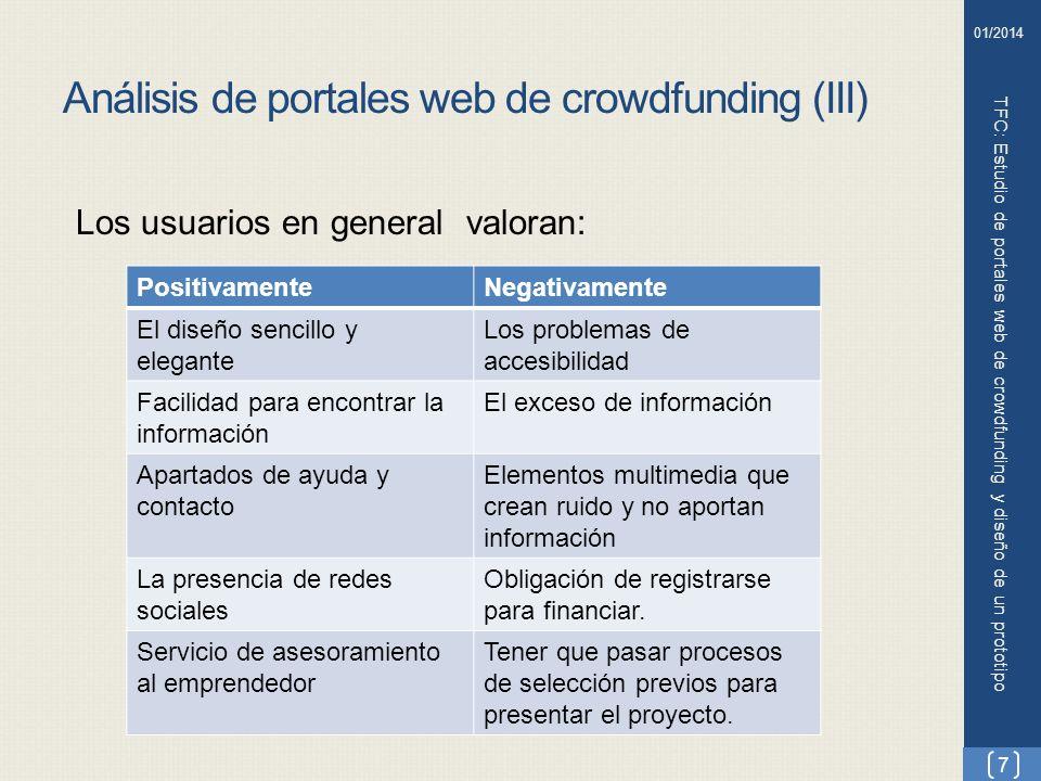 Análisis de portales web de crowdfunding (III) TFC: Estudio de portales web de crowdfunding y diseño de un prototipo Los usuarios en general valoran:
