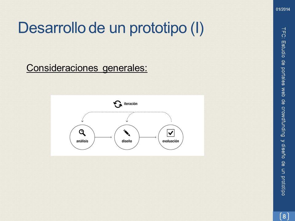 Desarrollo de un prototipo (II) TFC: Estudio de portales web de crowdfunding y diseño de un prototipo 9 01/2014 Etapa de investigación : Perfiles de usuario: Emprendedores Financieros