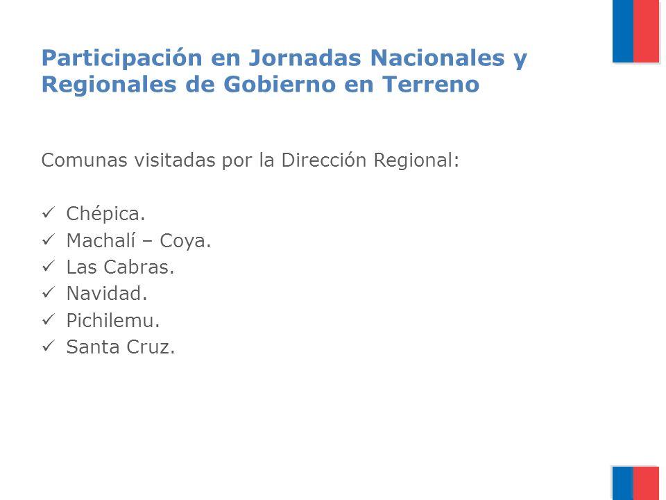 Participación en Jornadas Nacionales y Regionales de Gobierno en Terreno Comunas visitadas por la Dirección Regional: Chépica.