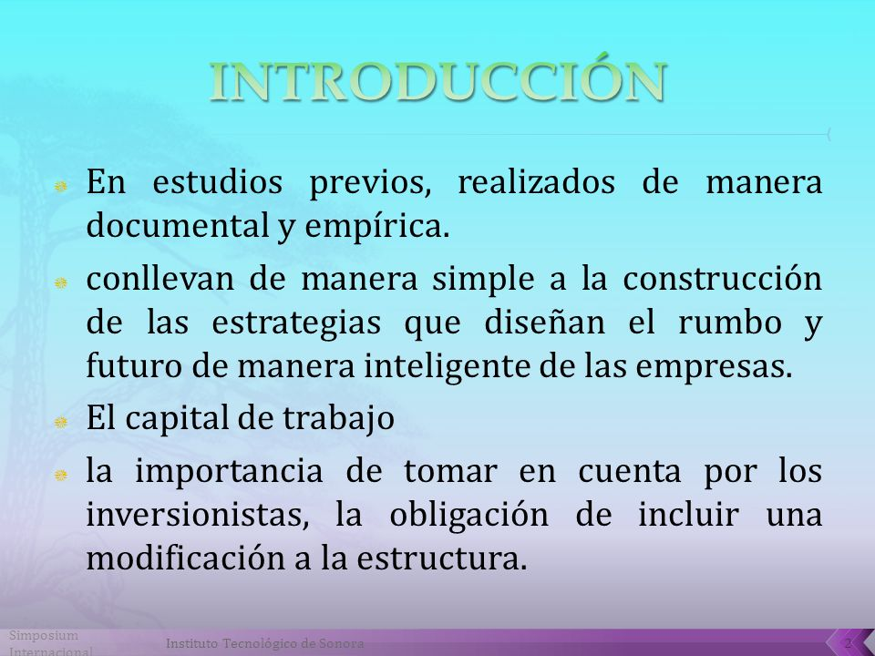Simposium Internacional Instituto Tecnológico de Sonora2 En estudios previos, realizados de manera documental y empírica.