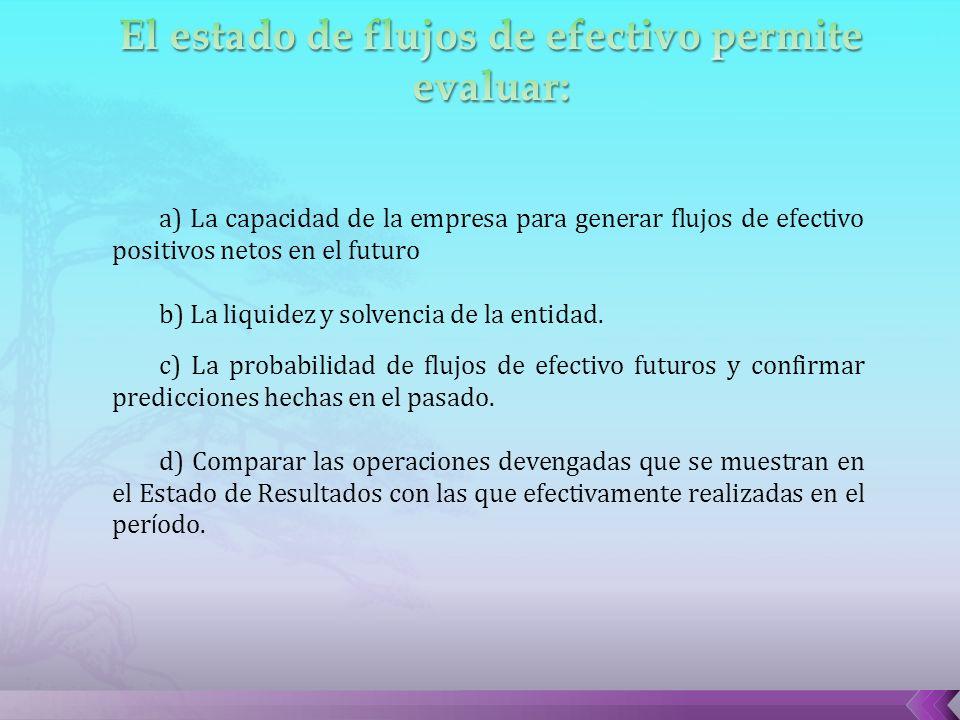 a) La capacidad de la empresa para generar flujos de efectivo positivos netos en el futuro b) La liquidez y solvencia de la entidad.