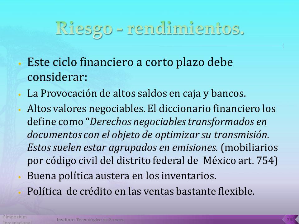 Simposium Internacional Instituto Tecnológico de Sonora23 Este ciclo financiero a corto plazo debe considerar: La Provocación de altos saldos en caja y bancos.