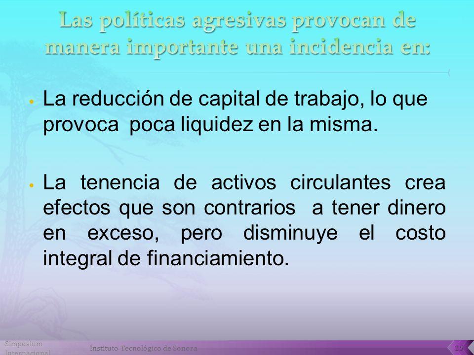 La reducción de capital de trabajo, lo que provoca poca liquidez en la misma.