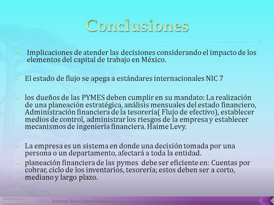 Implicaciones de atender las decisiones considerando el impacto de los elementos del capital de trabajo en México.