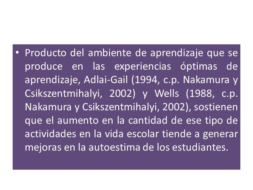 Producto del ambiente de aprendizaje que se produce en las experiencias óptimas de aprendizaje, Adlai-Gail (1994, c.p. Nakamura y Csikszentmihalyi, 20