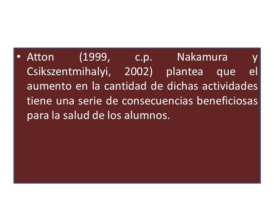 Atton (1999, c.p. Nakamura y Csikszentmihalyi, 2002) plantea que el aumento en la cantidad de dichas actividades tiene una serie de consecuencias bene