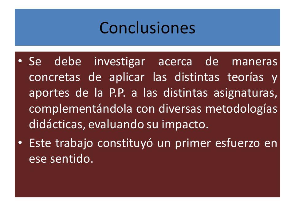 Conclusiones Se debe investigar acerca de maneras concretas de aplicar las distintas teorías y aportes de la P.P. a las distintas asignaturas, complem