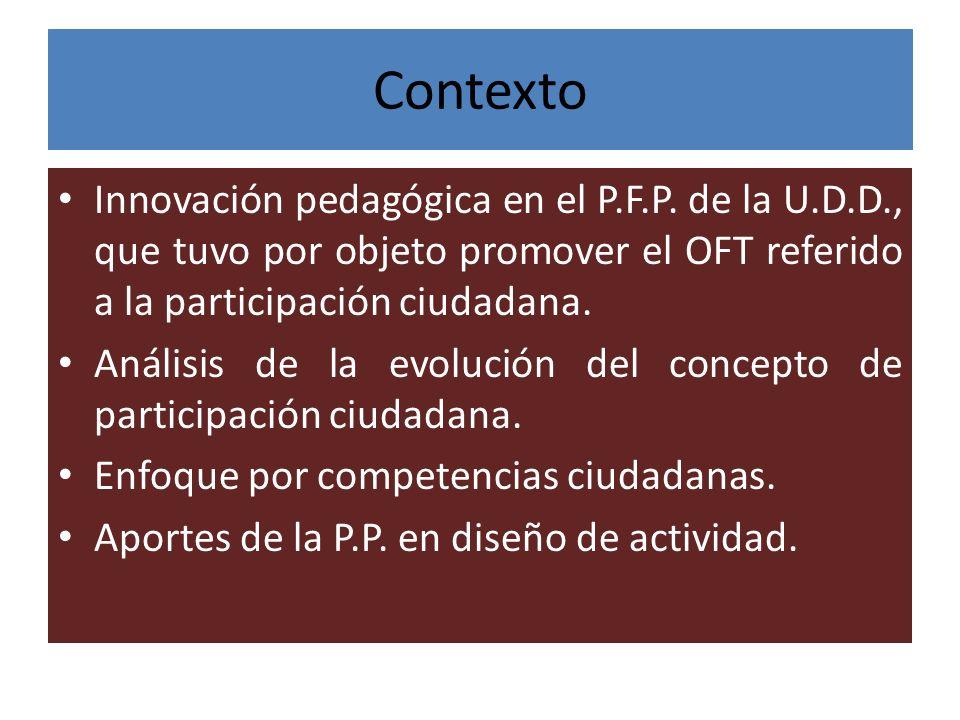 Contexto Innovación pedagógica en el P.F.P. de la U.D.D., que tuvo por objeto promover el OFT referido a la participación ciudadana. Análisis de la ev