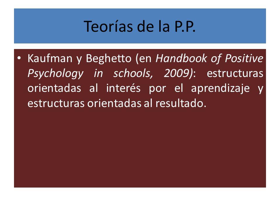 Teorías de la P.P. Kaufman y Beghetto (en Handbook of Positive Psychology in schools, 2009): estructuras orientadas al interés por el aprendizaje y es
