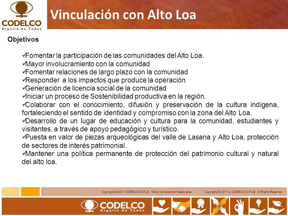 10 Copyrights © 2011 CODELCO-CHILE. Todos los Derechos Reservados. Copyrights © 2011 by CODELCO-CHILE. All Rights Reserved. Vinculación con Alto Loa O