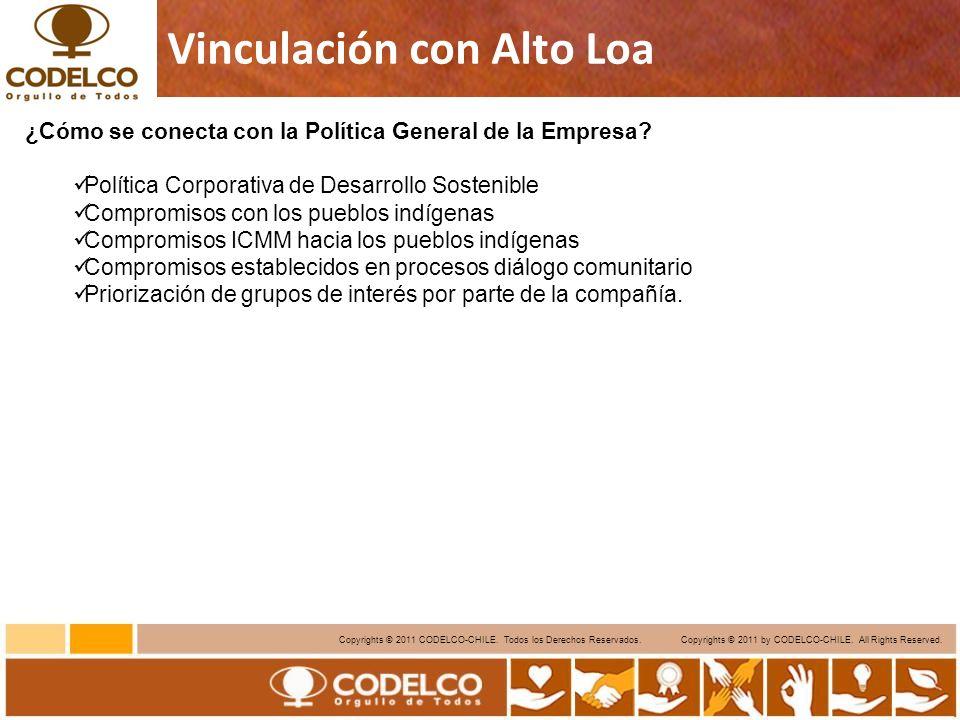 11 Copyrights © 2011 CODELCO-CHILE. Todos los Derechos Reservados. Copyrights © 2011 by CODELCO-CHILE. All Rights Reserved. Vinculación con Alto Loa ¿