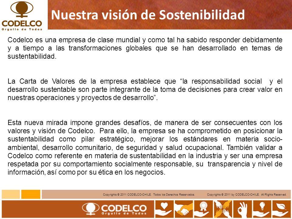 3 Copyrights © 2011 CODELCO-CHILE. Todos los Derechos Reservados. Copyrights © 2011 by CODELCO-CHILE. All Rights Reserved. Nuestra visión de Sostenibi
