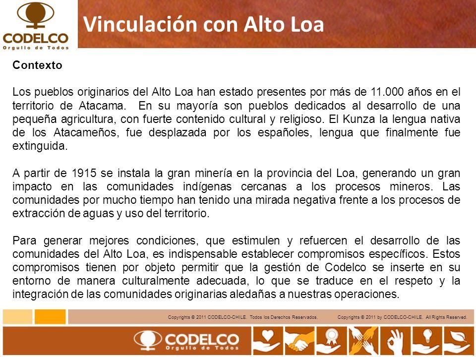 7 Copyrights © 2011 CODELCO-CHILE. Todos los Derechos Reservados. Copyrights © 2011 by CODELCO-CHILE. All Rights Reserved. Vinculación con Alto Loa Co