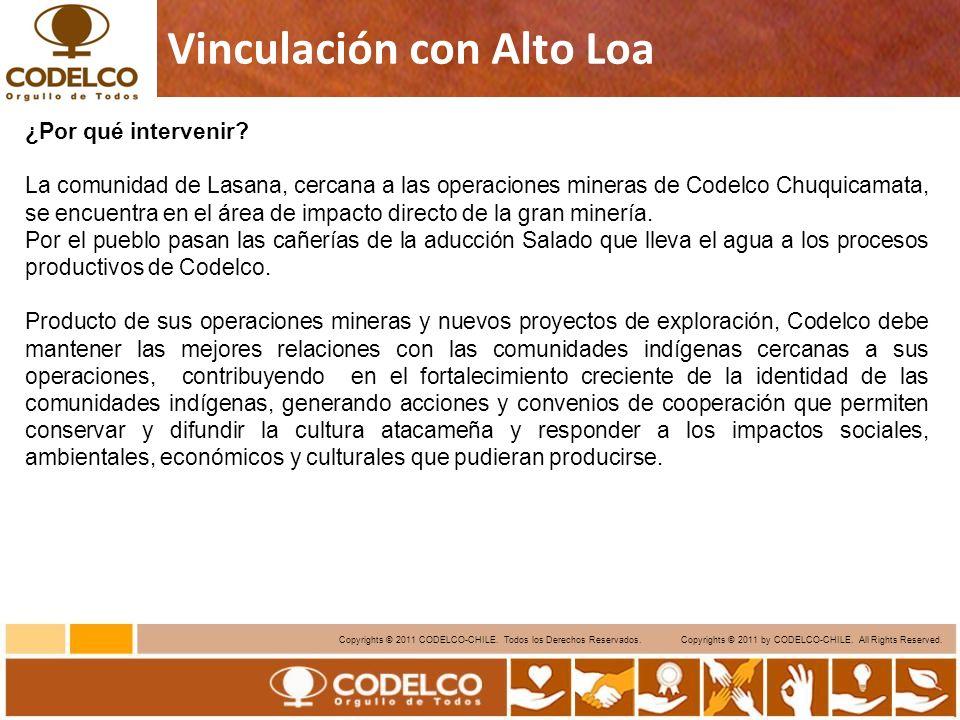 8 Copyrights © 2011 CODELCO-CHILE. Todos los Derechos Reservados. Copyrights © 2011 by CODELCO-CHILE. All Rights Reserved. Vinculación con Alto Loa ¿P