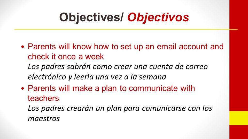 Objectives/ Objectivos Parents will be ready to lead their parent-teacher conferences Los padres estarán listos para dirigir sus reuniones de padres y maestros