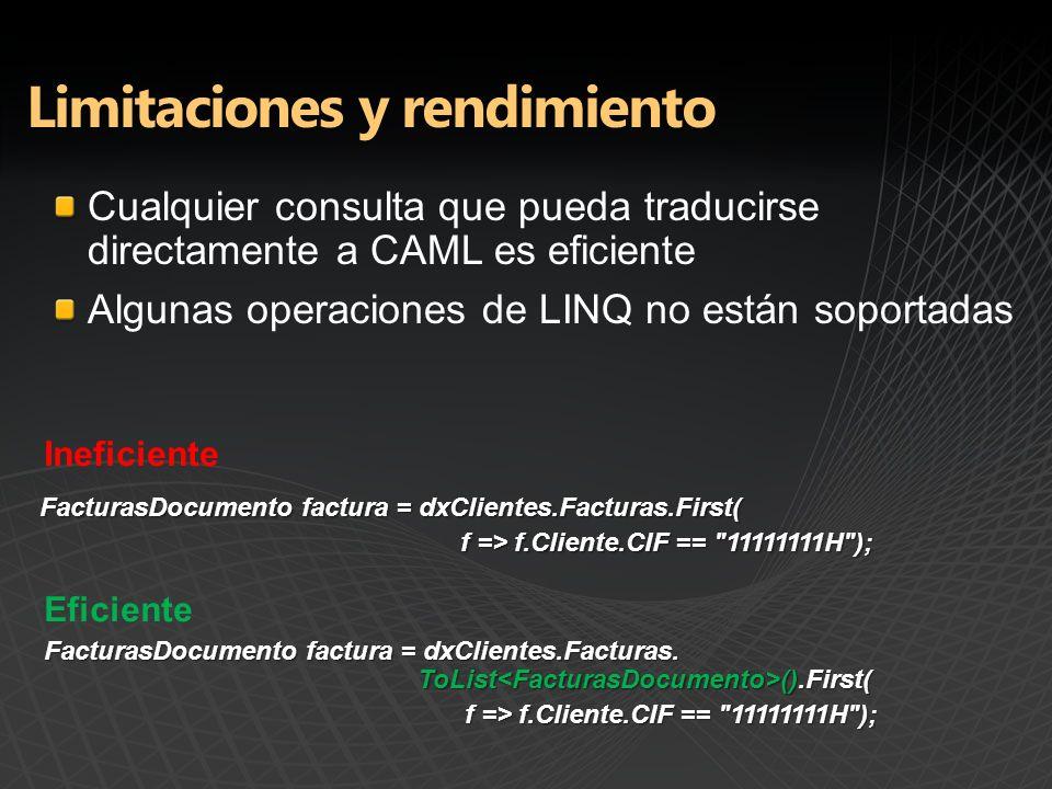 Cualquier consulta que pueda traducirse directamente a CAML es eficiente Algunas operaciones de LINQ no están soportadas FacturasDocumento factura = dxClientes.Facturas.First( f => f.Cliente.CIF == 11111111H ); FacturasDocumento factura = dxClientes.Facturas.