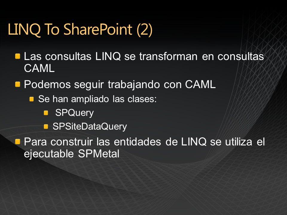 Las consultas LINQ se transforman en consultas CAML Podemos seguir trabajando con CAML Se han ampliado las clases: SPQuery SPSiteDataQuery Para construir las entidades de LINQ se utiliza el ejecutable SPMetal