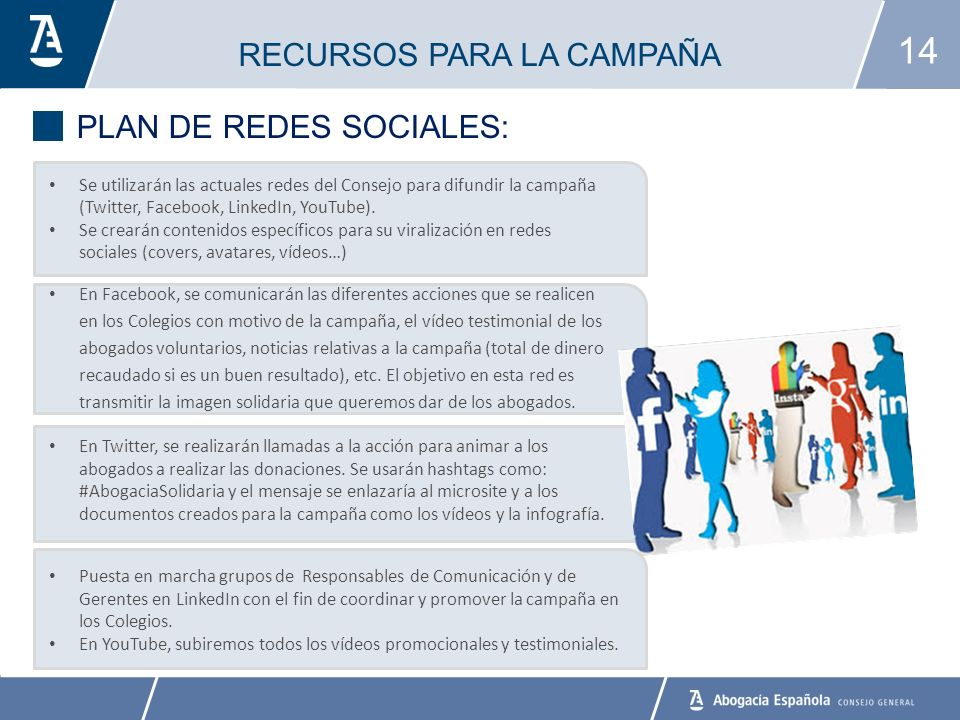 14 RECURSOS PARA LA CAMPAÑA PLAN DE REDES SOCIALES: Se utilizarán las actuales redes del Consejo para difundir la campaña (Twitter, Facebook, LinkedIn, YouTube).