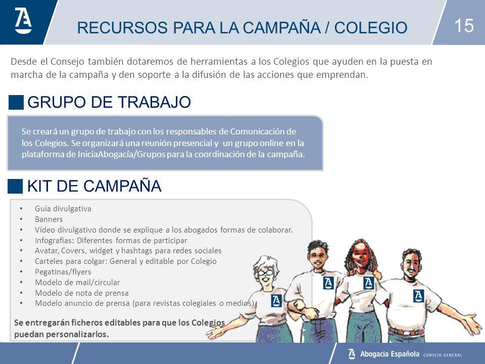 15 RECURSOS PARA LA CAMPAÑA / COLEGIO BANCO DE ALIMENTOS Se creará un grupo de trabajo con los responsables de Comunicación de los Colegios.