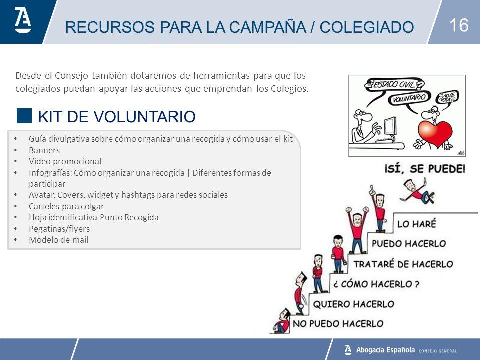16 RECURSOS PARA LA CAMPAÑA / COLEGIADO BANCO DE ALIMENTOS Desde el Consejo también dotaremos de herramientas para que los colegiados puedan apoyar las acciones que emprendan los Colegios.
