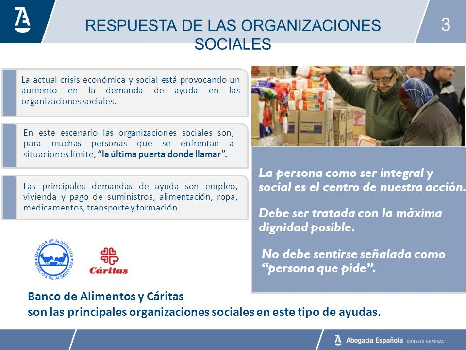 3 La actual crisis económica y social está provocando un aumento en la demanda de ayuda en las organizaciones sociales.