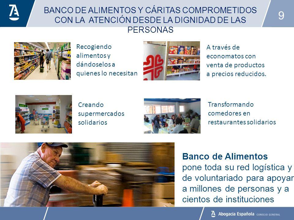9 BANCO DE ALIMENTOS Y CÁRITAS COMPROMETIDOS CON LA ATENCIÓN DESDE LA DIGNIDAD DE LAS PERSONAS A través de economatos con venta de productos a precios reducidos.