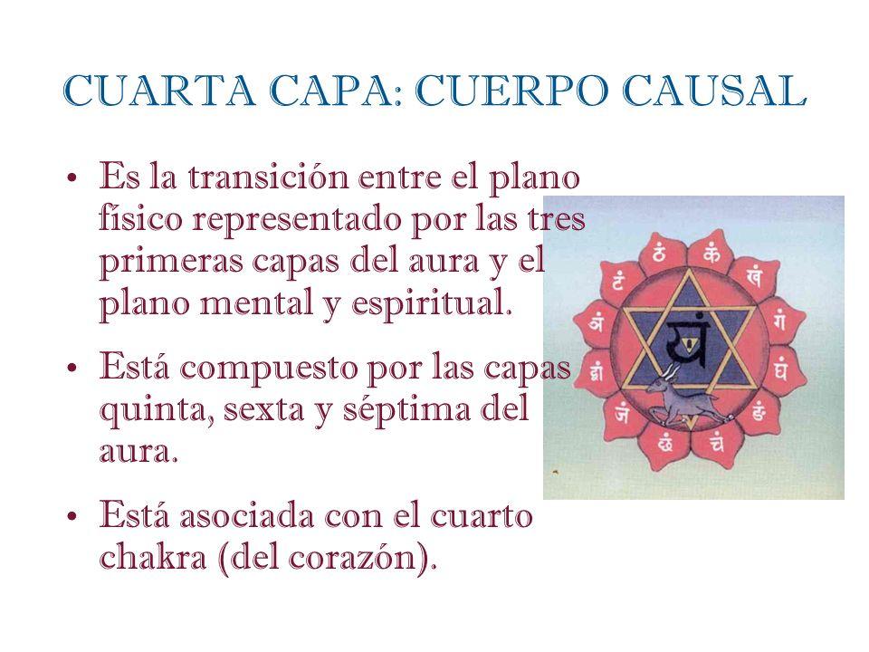 Es la transición entre el plano físico representado por las tres primeras capas del aura y el plano mental y espiritual. Está compuesto por las capas