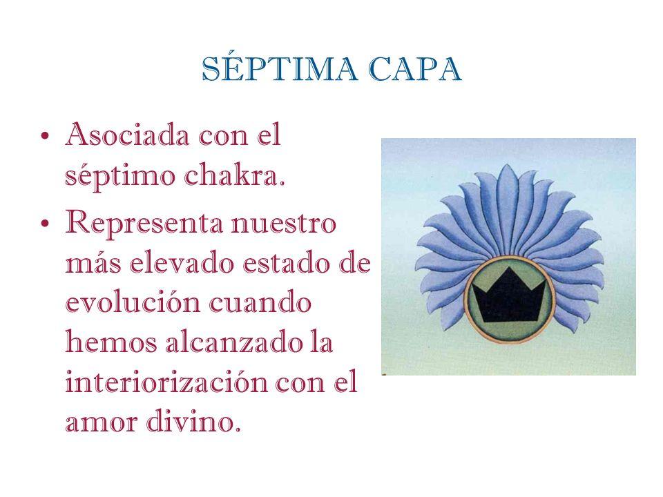 SÉPTIMA CAPA Asociada con el séptimo chakra. Representa nuestro más elevado estado de evolución cuando hemos alcanzado la interiorización con el amor