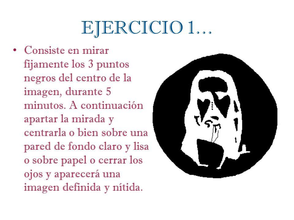 EJERCICIO 1… Consiste en mirar fijamente los 3 puntos negros del centro de la imagen, durante 5 minutos. A continuación apartar la mirada y centrarla