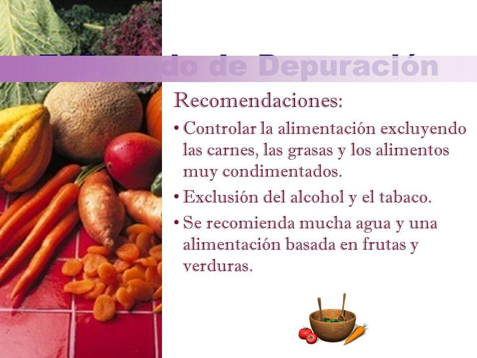 Recomendaciones: Controlar la alimentación excluyendo las carnes, las grasas y los alimentos muy condimentados. Exclusión del alcohol y el tabaco. Se