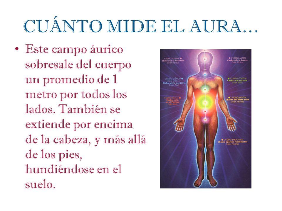 CUÁNTO MIDE EL AURA… Este campo áurico sobresale del cuerpo un promedio de 1 metro por todos los lados. También se extiende por encima de la cabeza, y