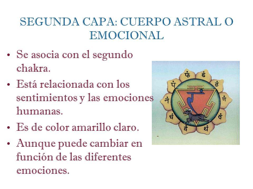 Se asocia con el segundo chakra. Está relacionada con los sentimientos y las emociones humanas. Es de color amarillo claro. Aunque puede cambiar en fu