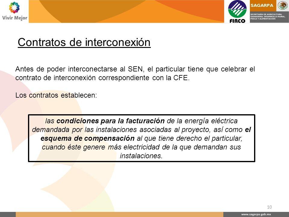 Antes de poder interconectarse al SEN, el particular tiene que celebrar el contrato de interconexión correspondiente con la CFE. Los contratos estable
