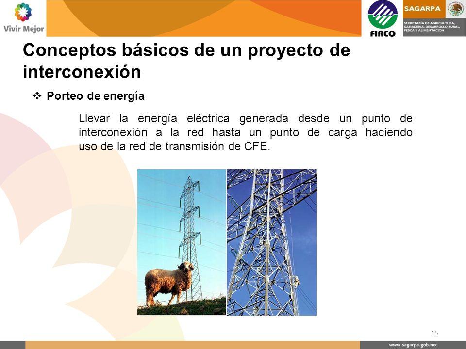 Porteo de energía Llevar la energía eléctrica generada desde un punto de interconexión a la red hasta un punto de carga haciendo uso de la red de tran