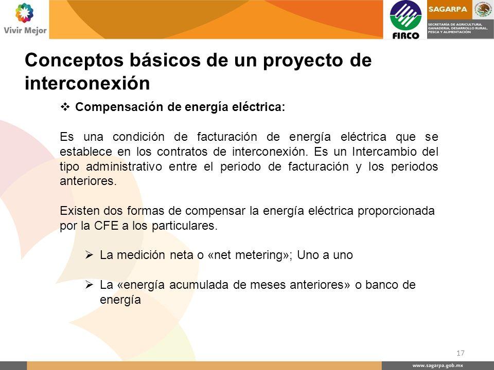 Compensación de energía eléctrica: Es una condición de facturación de energía eléctrica que se establece en los contratos de interconexión. Es un Inte