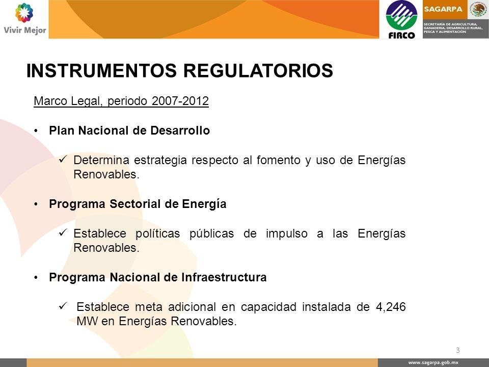 INSTRUMENTOS REGULATORIOS Marco Legal, periodo 2007-2012 Plan Nacional de Desarrollo Determina estrategia respecto al fomento y uso de Energías Renova