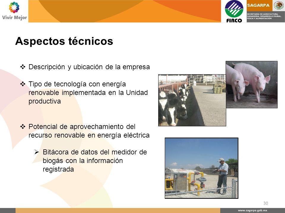 Aspectos técnicos Descripción y ubicación de la empresa Tipo de tecnología con energía renovable implementada en la Unidad productiva Potencial de apr