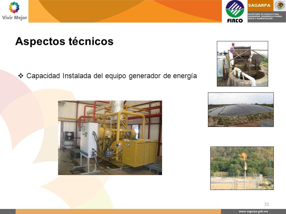 Aspectos técnicos Capacidad Instalada del equipo generador de energía 31