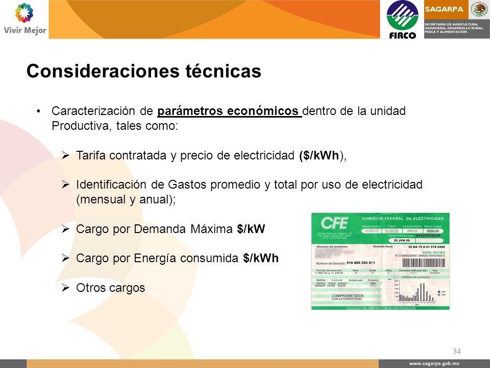 Consideraciones técnicas Caracterización de parámetros económicos dentro de la unidad Productiva, tales como: Tarifa contratada y precio de electricid