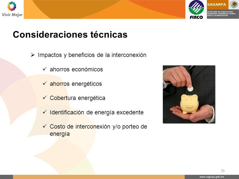 Consideraciones técnicas Impactos y beneficios de la interconexión ahorros económicos ahorros energéticos Cobertura energética Identificación de energ
