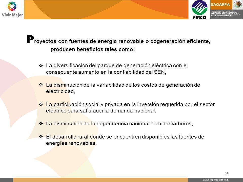 P royectos con fuentes de energía renovable o cogeneración eficiente, producen beneficios tales como: La diversificación del parque de generación eléc