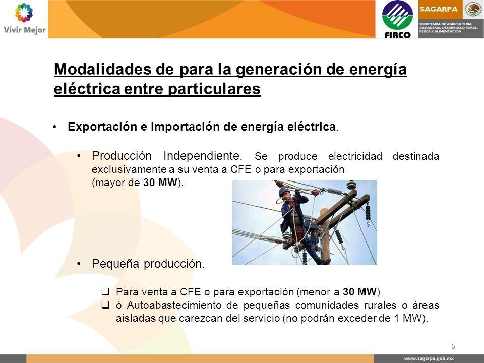Exportación e importación de energía eléctrica. Producción Independiente. Se produce electricidad destinada exclusivamente a su venta a CFE o para exp