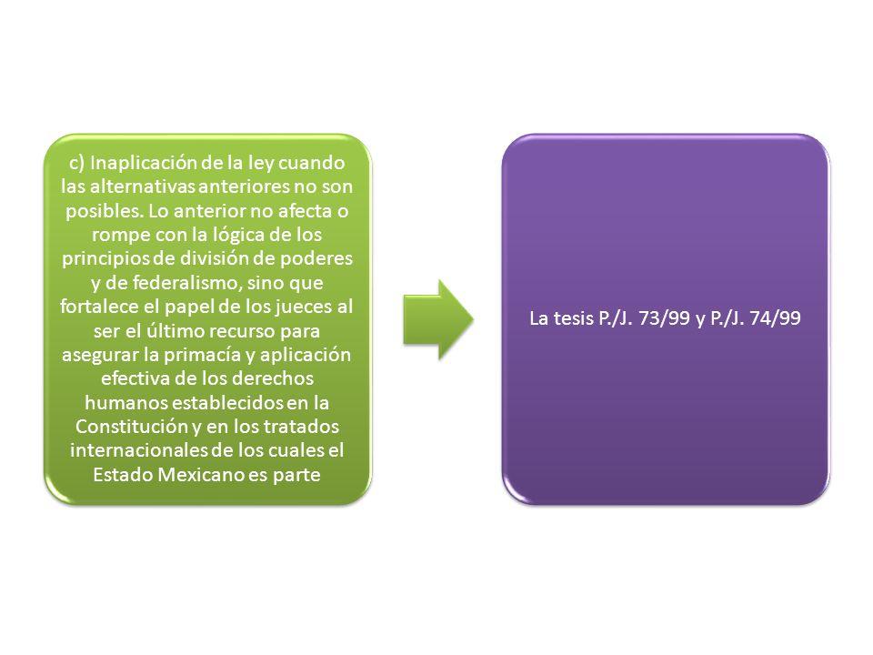 c) Inaplicación de la ley cuando las alternativas anteriores no son posibles.