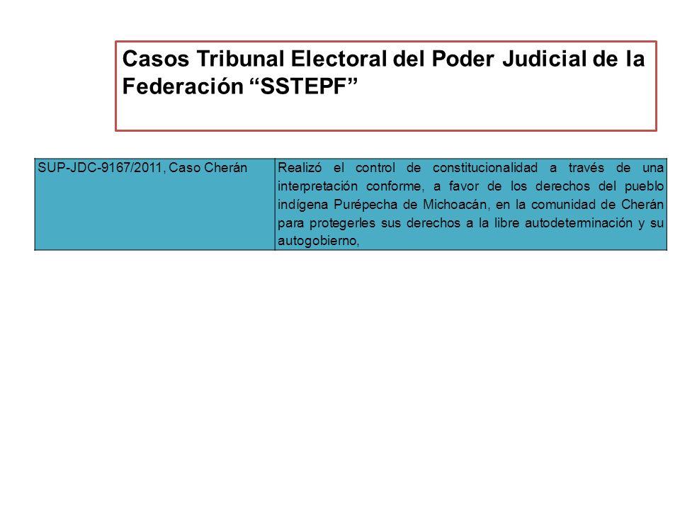 SUP-JDC-9167/2011, Caso CheránRealizó el control de constitucionalidad a través de una interpretación conforme, a favor de los derechos del pueblo indígena Purépecha de Michoacán, en la comunidad de Cherán para protegerles sus derechos a la libre autodeterminación y su autogobierno, Casos Tribunal Electoral del Poder Judicial de la Federación SSTEPF